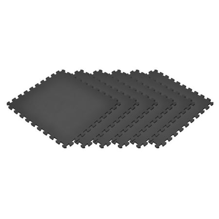 Norsk Black 24 in. x 24 in. EVA Foam Non-Toxic Solid Color Interlocking Tiles, 24