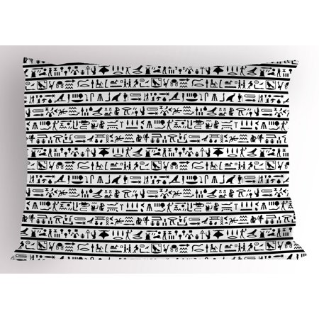 Egyptian Pillow Sham Historical Language Writing with Symbols Pictographic  Style Cultural Traditional, Decorative Standard Queen Size Printed