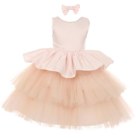 BNY Little Girls Rhinestones Satin Tulle Baby Infant Toddler Flower Girl Dress Blush 6M TR 029 BNY Corner