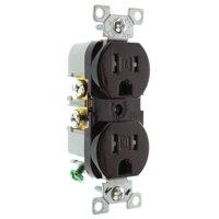Hubbell RR15STRZ Duplex Receptacle Outlet, Tamper, TR, 15-Amp, 125V, Brown