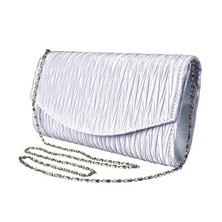 Peach Couture Womens Vintage Satin Pleated Envelope Evening Cocktail Wedding Party Handbag Clutch (Lilac) ()