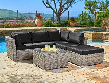 Suncrown Outdoor Furniture Sectional Sofa (4-Piece Set) All-Weather Grey Checkered Wicker... by Suncrown