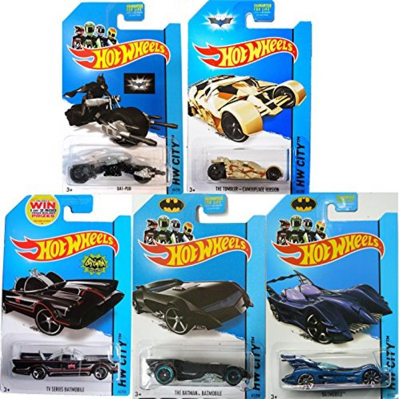 Batman 75th Anniversary Hot Wheels Cars 2014 Hot Wheels. Rare Full Set: Batmobiles IN PROTECTORS by