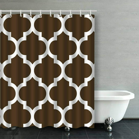 BSDHOME Chocolate Brown And White Moroccan Quatrefoil Pattern Bathroom Shower Curtain 60x72 inches - image 1 de 4