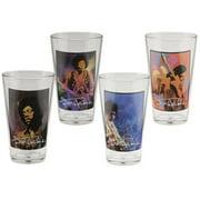 Jimi Hendrix 16 Ounce Glass Set Of 4