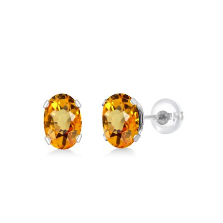 1.23 Ct Oval 6x4mm Yellow Sapphire 10K White Gold Stud (White Oval 123)