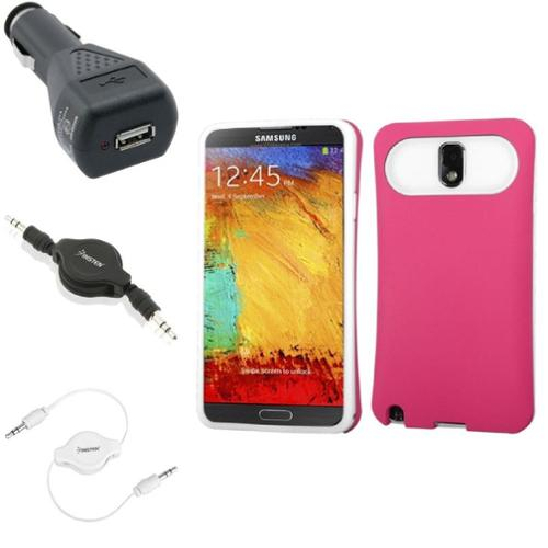 Insten Pink Wallet Back Case+Charger+2x Audio Cable For Samsung Galaxy Note 3 N9000