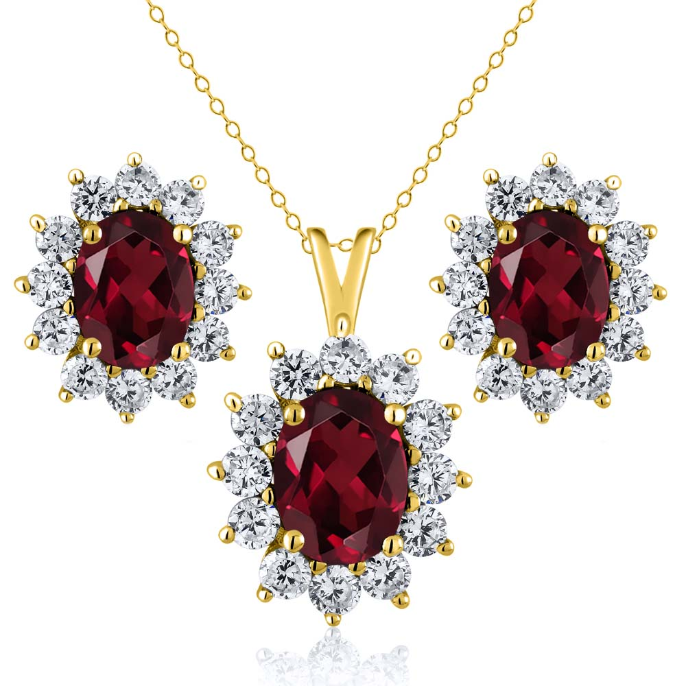 2.95 Ct Red Rhodolite Garnet 18K Yellow Gold Plated Silver Pendant Earrings Set by