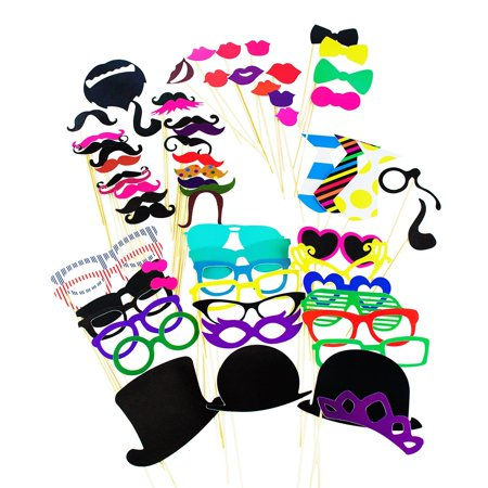 Photo Booth Props Photography Stick Face Mask DIY Paper Kit Party Favors Dress Up Costume Games by Super Z Outlet
