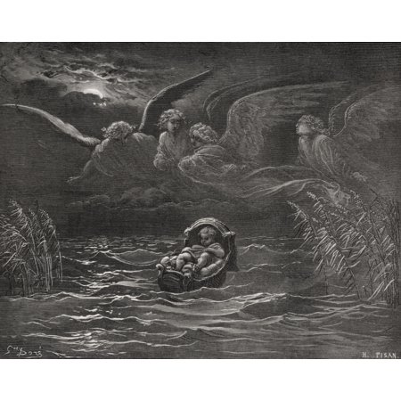 Engraving From The The Dore Bible Illustrating Exodus Ii 1 To 4 The