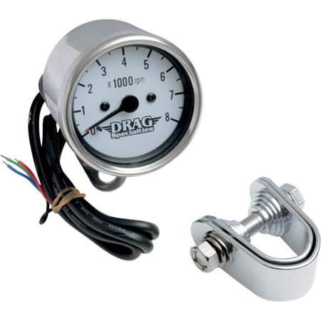 Drag Specialties Electronic - Drag Specialties 2211-0058 2.45in. Mini Electronic 8000 RPM Tachometer - White Face with Black Needle