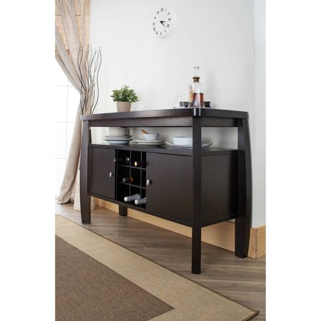 Furniture of America Vera Contemporary Multi-Storage Buffet Table, Espresso