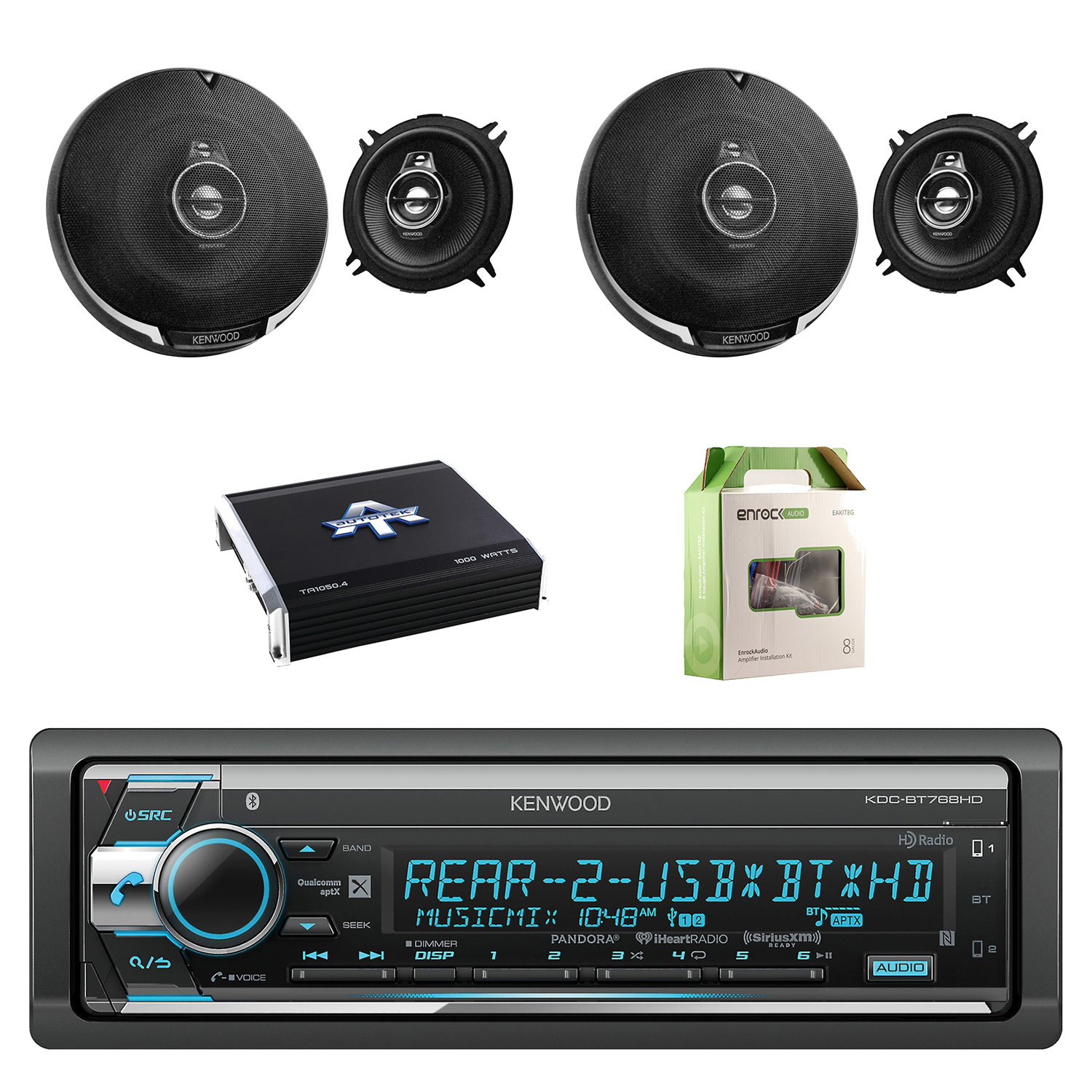 Kenwood Single Din CD AM FM Car Audio Receiver W Bluetooth with Kenwood 3-Way Car Audio Coaxial Speakers... by EnrockAutomotive