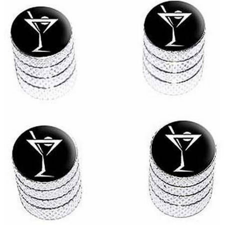 Stemmed Cocktail (Martini Drink Cocktail Tire Rim Wheel Aluminum Valve Stem Caps, Multiple Colors)