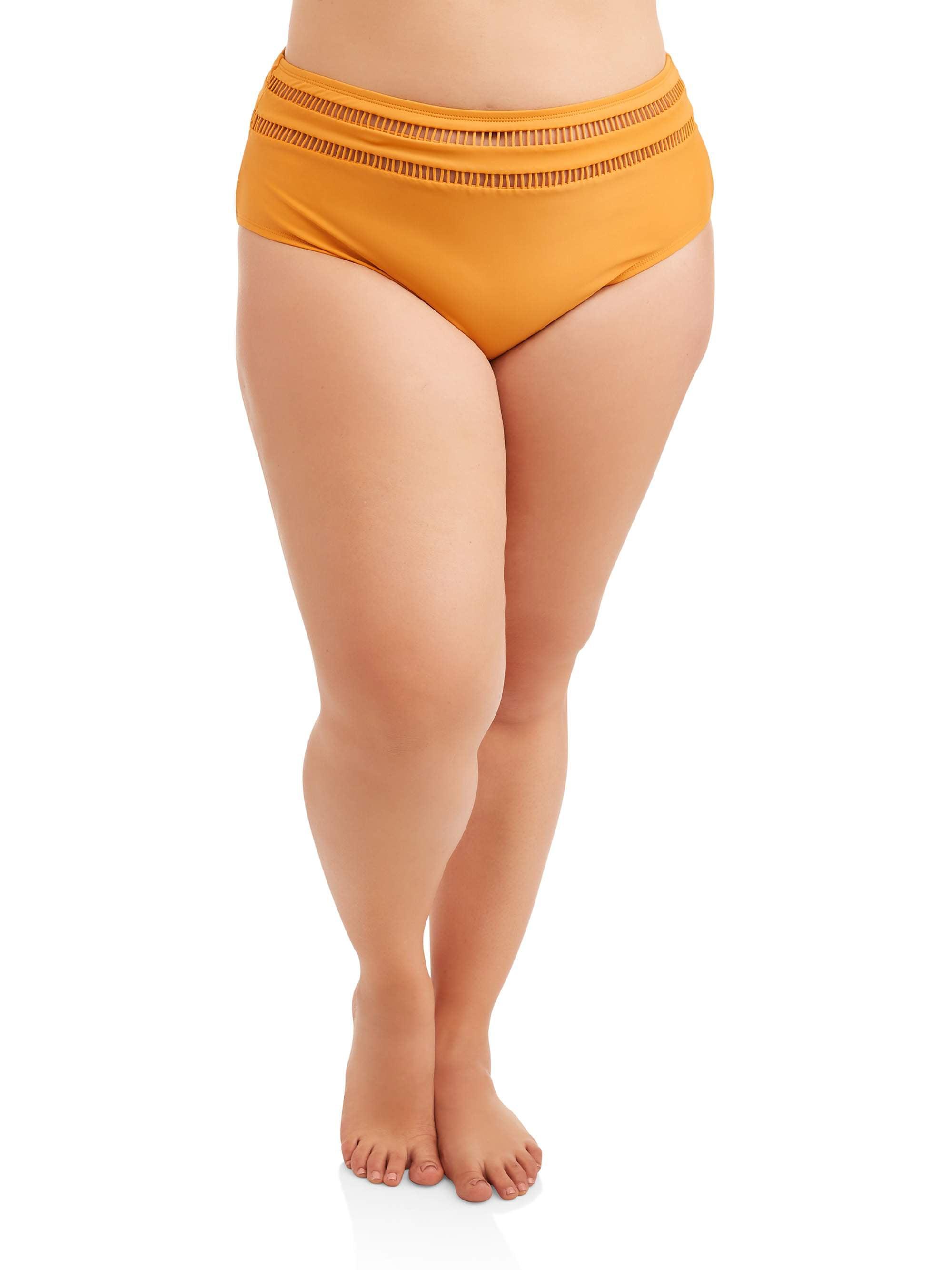 Women's Plus Size Ladder Trim High Waist Swimsuit Bottom