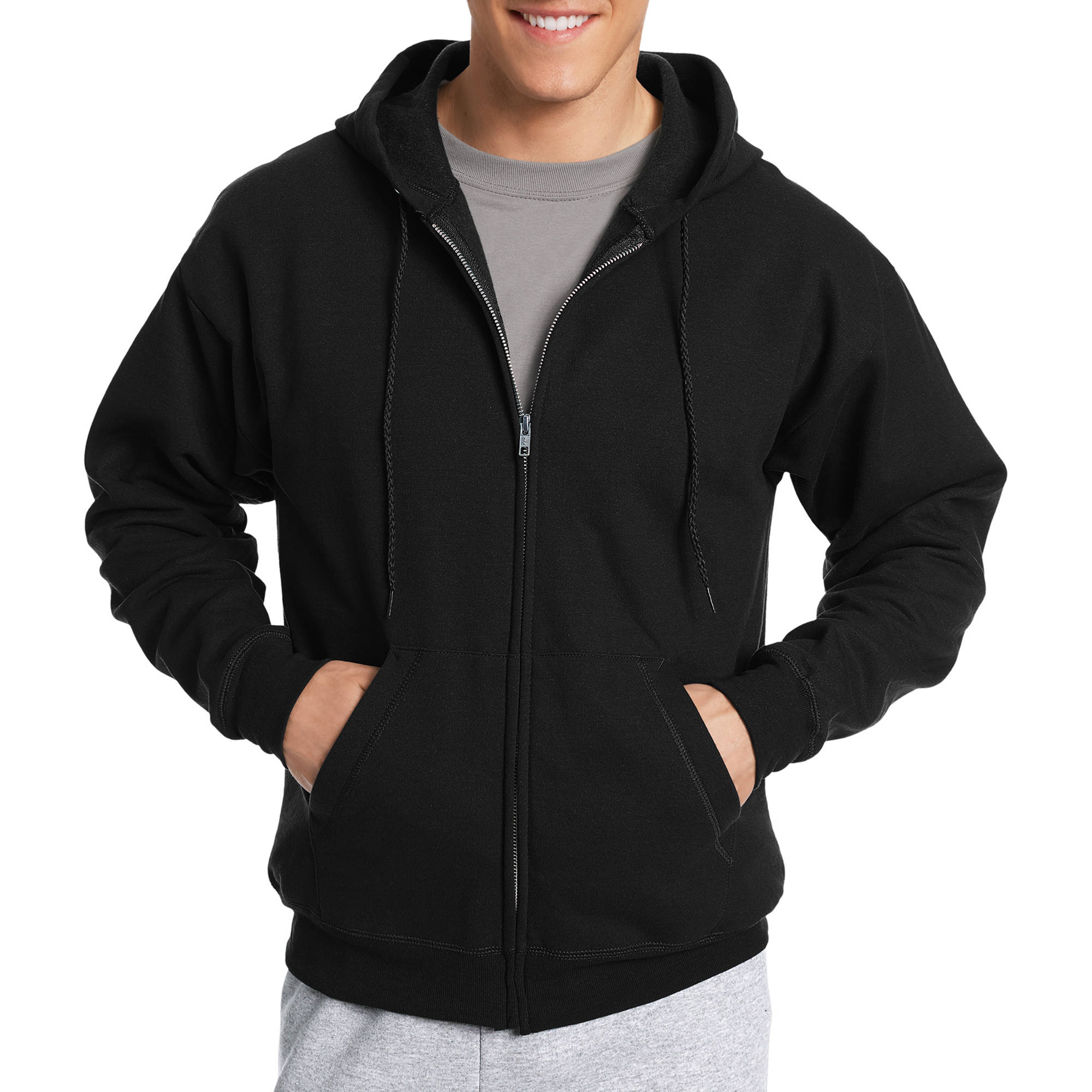 Hanes Men's EcoSmart Fleece Zip Pullover Hoodie with Front Pocket ...