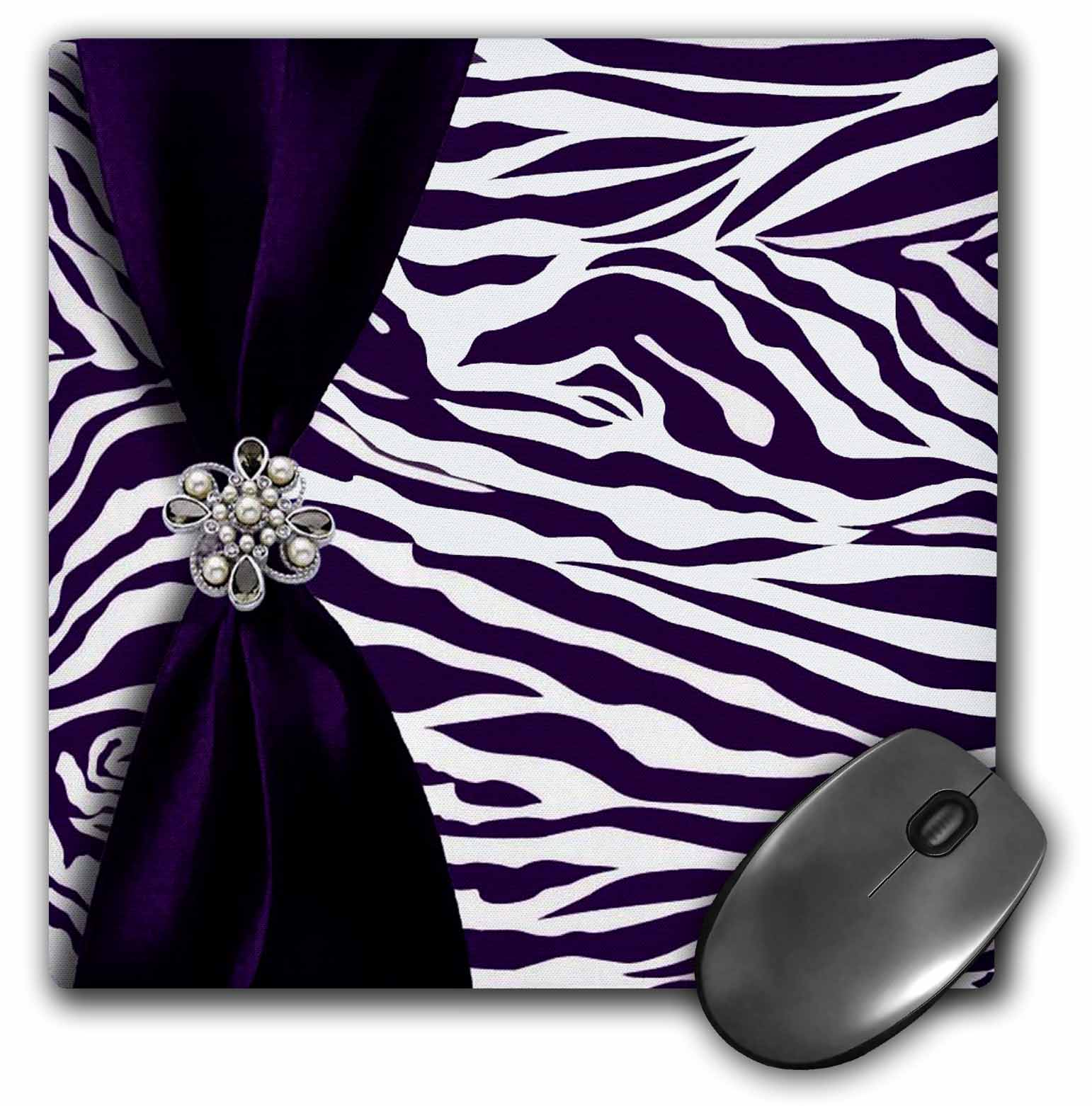 3dRose Purple and White Zebra Patterned, Mouse Pad, 8 by 8 inches