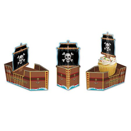 Club Pack of 36 Decorative 3-D Pirate Ship Party Favor Treat Boxes 6.5