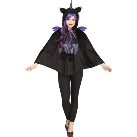 Adult Dark Unicorn Hooded Poncho Costume size 4-14