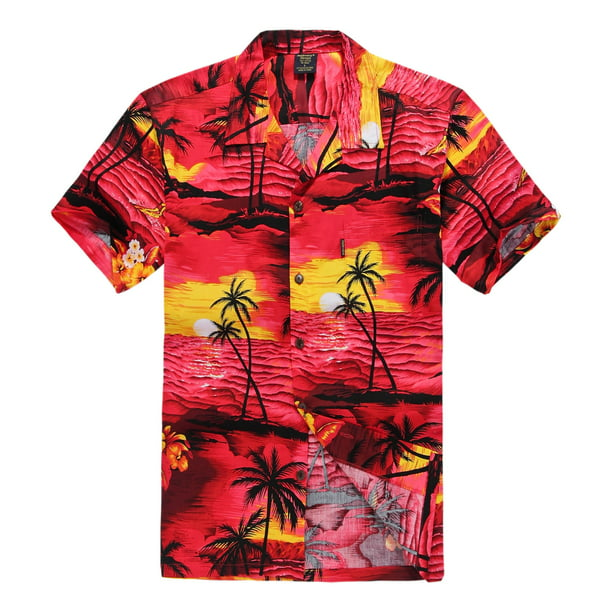 Palm Wave Mens and Big Mens Tropical Sunset Print Hawaiian Shirt, up to size 6XL