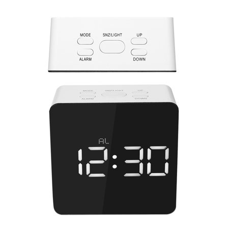 Digital LED Mirror Clock 12H/24H Alarm and Snooze Function °C/°F Indoor Thermometer Adjustable LED Luminance - image 7 de 7