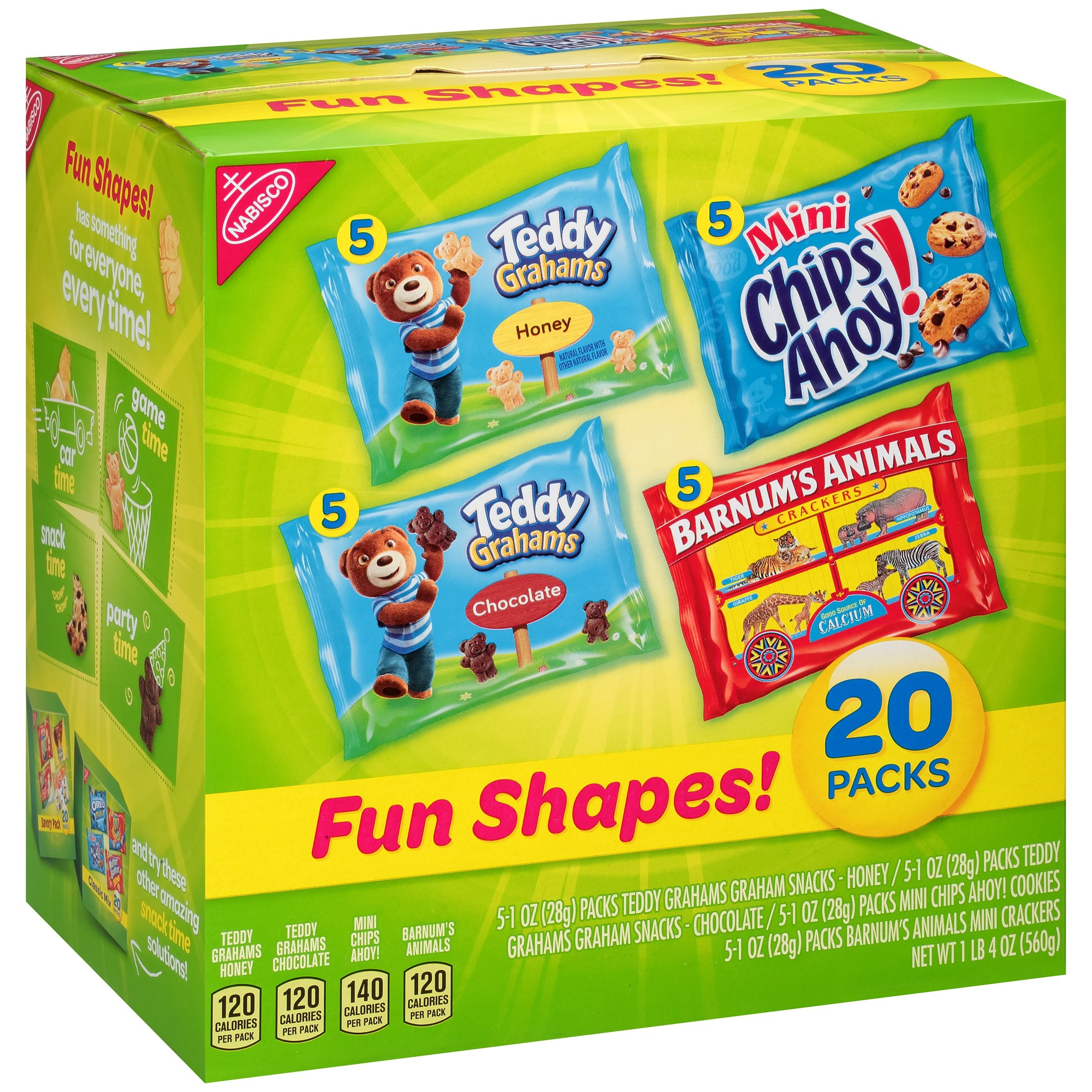 Nabisco Variety Pack Cookies & Crackers, Fun Shapes, 1 Oz, 20 Count