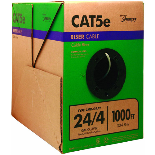 Southwire 1000' 24-Gauge 4-Pair CMR Category 5e Riser Cable, Grey