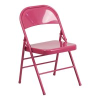 Offex Shockingly Fuchsia Triple Braced & Double Hinged Metal Folding Chair - 2 Pack
