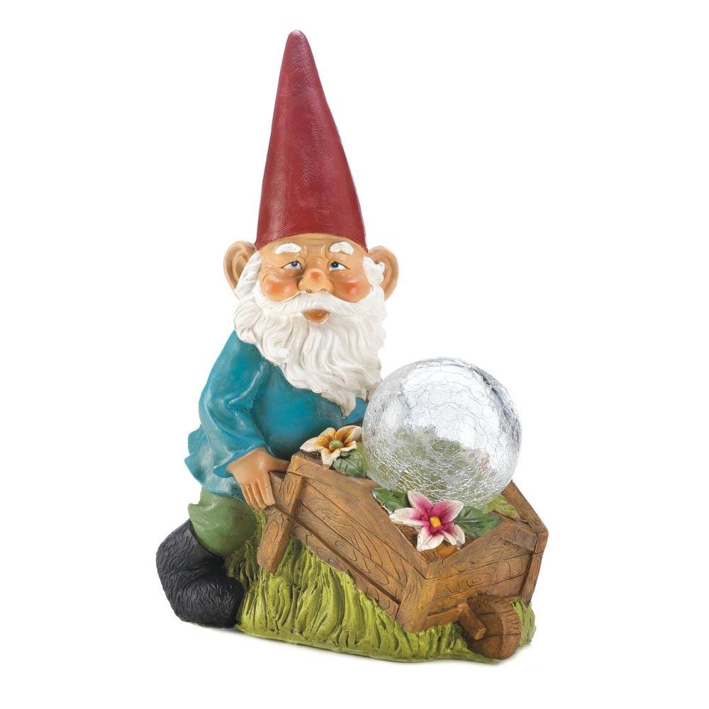 Solar Yard Statues, Garden Patio Outdoor Lawn Gnomes Statues   With Wheel  Barrow (Sold