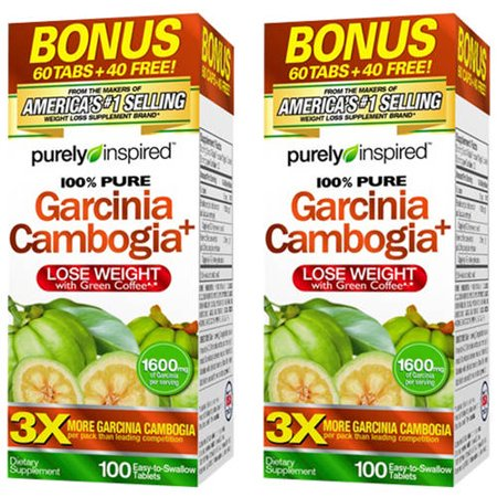 (2 Pack) Purely Inspired Garcinia Cambogia Non Stimulant Weight Loss Pills Bonus Pack, Veggie Tablets, 100