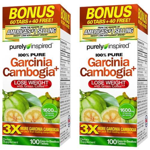 (2 Pack) Purely Inspired Garcinia Cambogia Non Stimulant Weight Loss Pills Bonus Pack, Veggie Tablets, 100 Ct