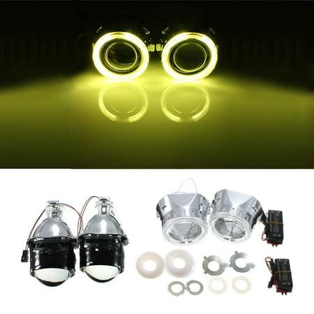 2X 2.5Inch Car Lens Angel Eye CCFL Halo Lamp Bulb Vehicle Bi-Xenon Hi/Lo HID Projector Kit Conversion