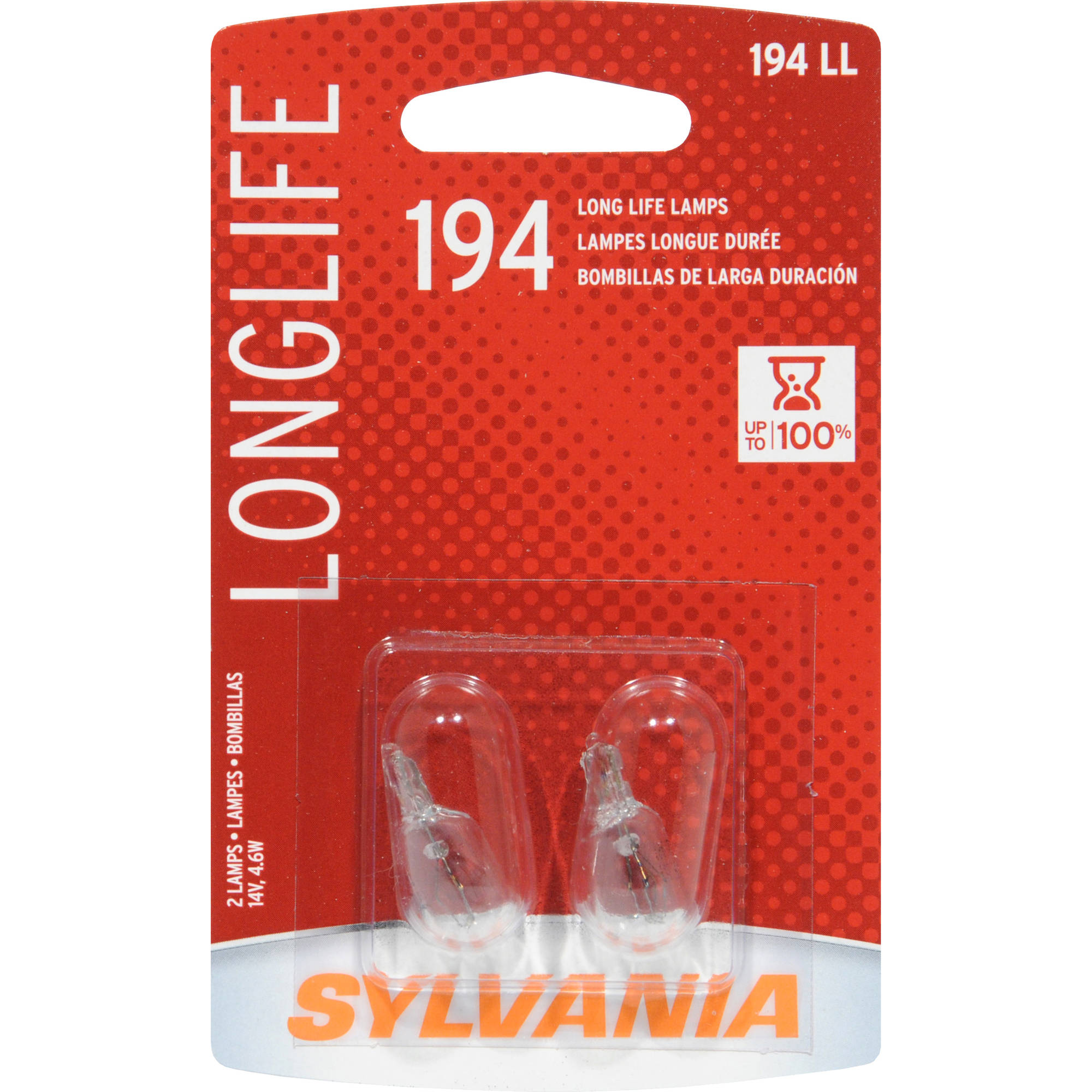 Sylvania 194 Long-Life Miniature Bulb, Twin Pack