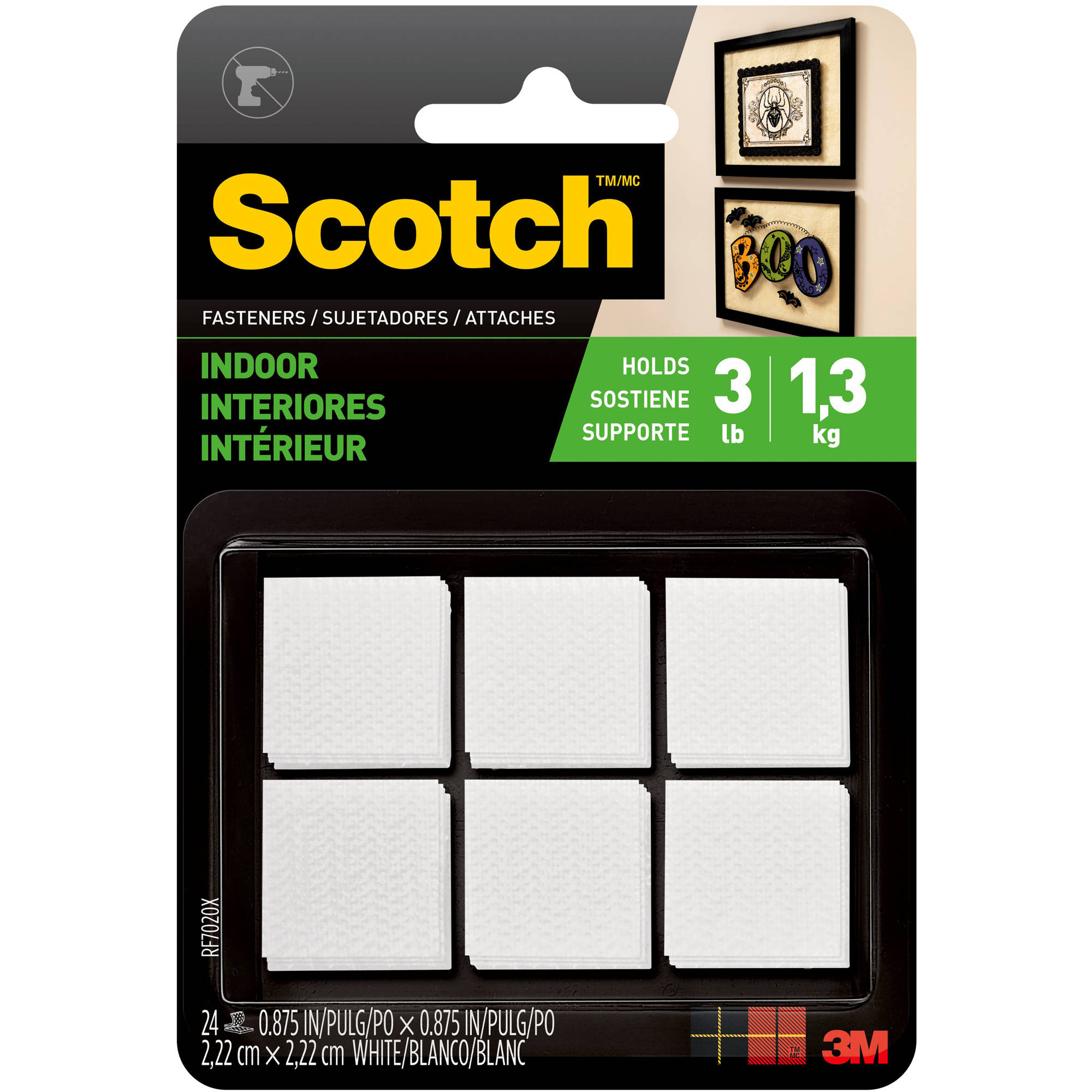 Scotch Indoor Fasteners , 7/8 in. x 7/8 in., White, 24 Sets/Pack
