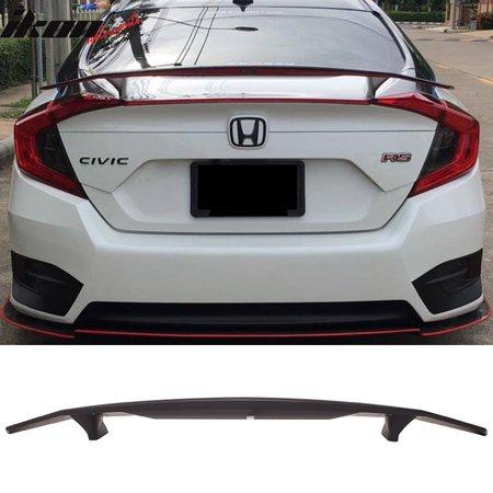 - Fits 16-18 Honda Civic Sedan 4Dr Ikon Type A Trunk Spoiler Si Sport Rear Wing