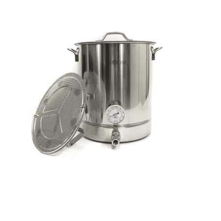 GasOne 40QT - 10 gallon Stainless Steel Home Brew Pot Brew Kettle Set 40 Quart TRI PLY Bottom for Beer Brewing Includes Lid Ball valve Thermometer False bottom Mesh Tube tool Complete Kit ()