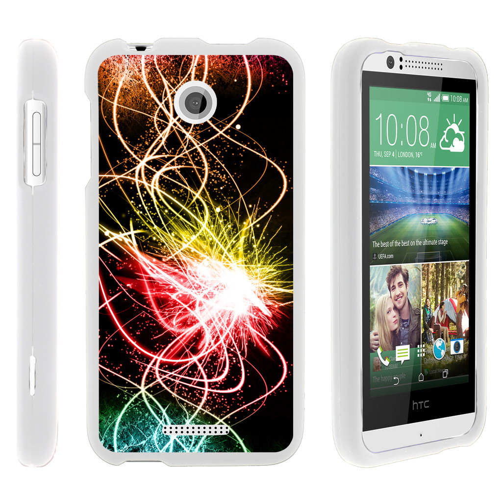 HTC Desire 510, [SNAP SHELL][White] Hard White Plastic Case with Non Slip Matte Coating with Custom Designs - Colorful Light Show