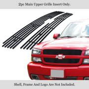 APS Compatible with 2003-2005 Chevy Silverado 1500 & 03-04 2500 3500 & 02-06 Avalanche Main Upper Stainless Steel Black 8x6 Horizontal Billet Grille Insert C65717J