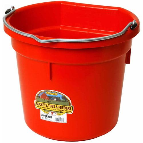 Miller Manufacturing 20qt Red Flat Plastic Bucket