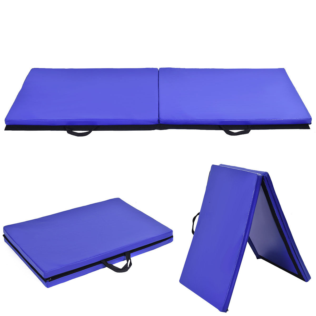 costway 6u0027x 2u0027 gymnastics mat thick two folding panel gym fitness exercise blue