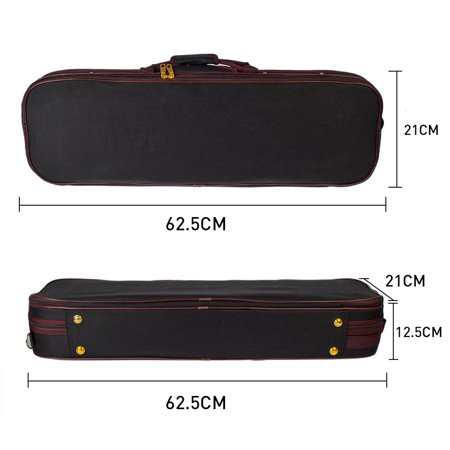 Professional 1/4 Full Size Violin Case Carrying Bag Oblong Shape Hard Case with Plush Lining Hygrometer and Portable Shoudler Straps Black - image 7 of 7