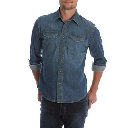 Wrangler Mens and Big & Tall Premium Slim Fit Denim Shirt, up to Size 5XL