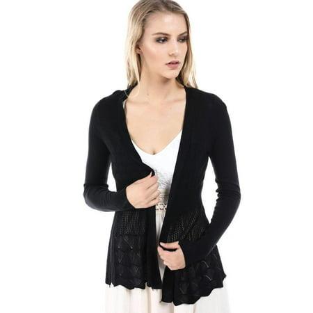 (Salt Tree Women's Light Knit Stitched Detailing Long Sleeve Cardigan)