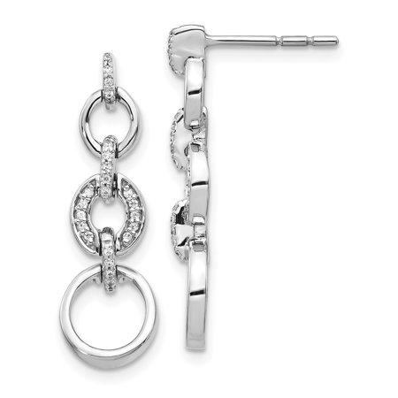 14K White Gold Plated Diamond Fancy Dangle Earrings