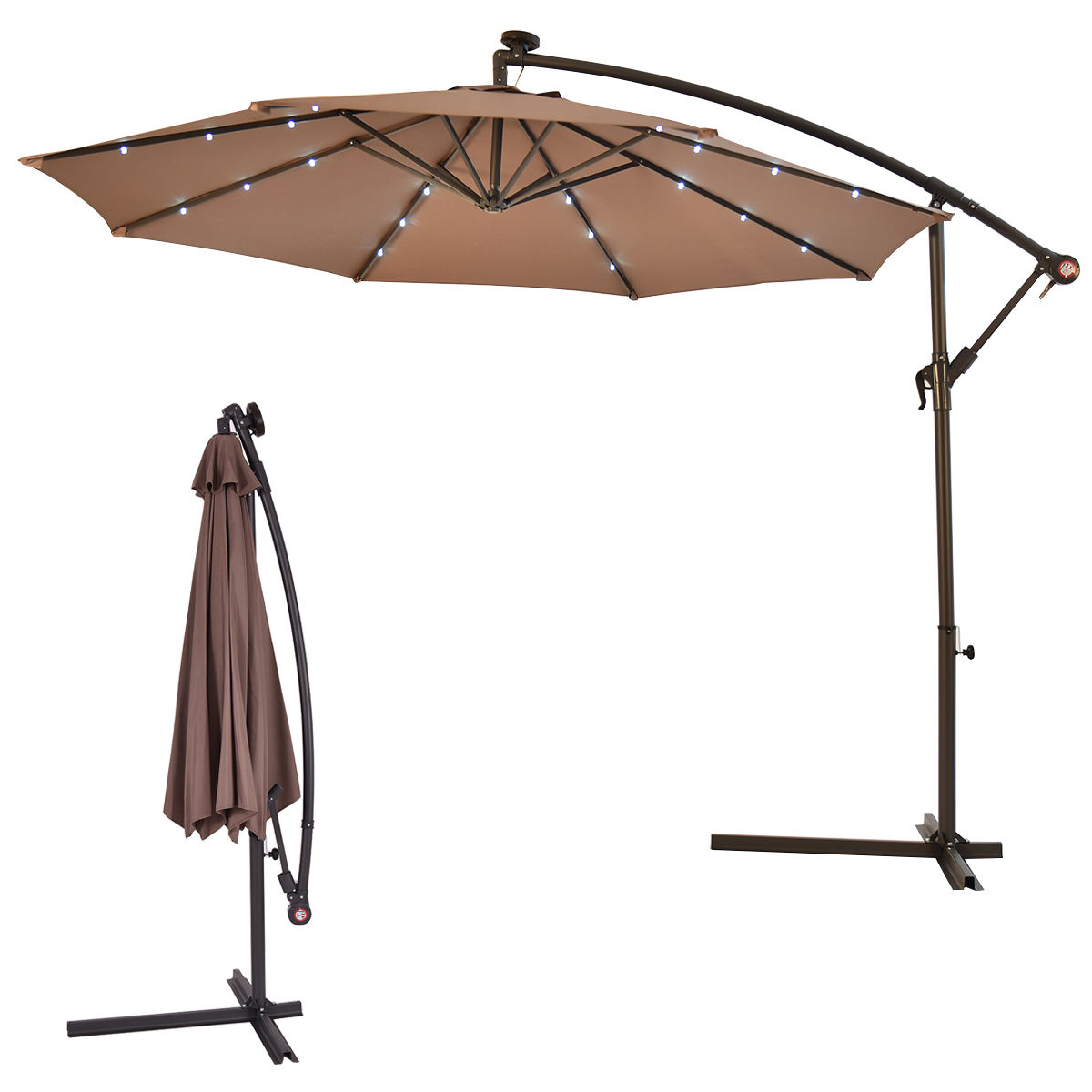 Exceptional Costway 10u0027 Hanging Solar LED Umbrella Patio Sun Shade Offset Market W/Base  Tan