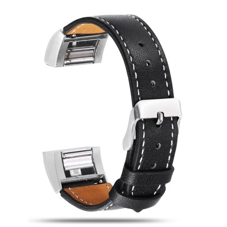 Sleek Black Leather Band - Genuine Leather Strap Wrist Band for Fitbit charge 2 Replacement With Metal Clasp Connector Adjustable Black
