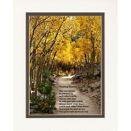 Wedding Gift for the Couple with Wedding Blessing Poem. Aspen Path Photo, 8x10 Double Matted. Special Wedding Keepsake for the Bride and Groom. Double Heart Keepsake Box