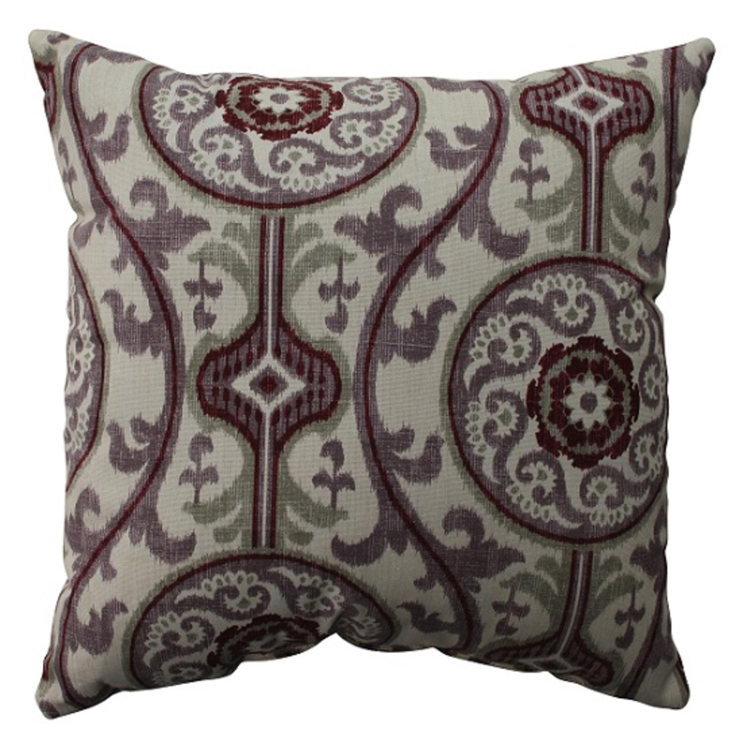 "16.5"" Purple and White Bohemian Damask Decorative Throw Pillow"