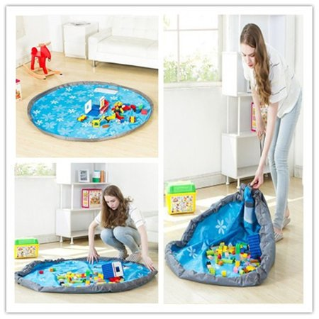60'' Large Portable Kids Toy Organizer Storage Bag Tidy Play Mat Folding Rug Box WITH Side Pocket for Tiny (Toy Storage Bag)