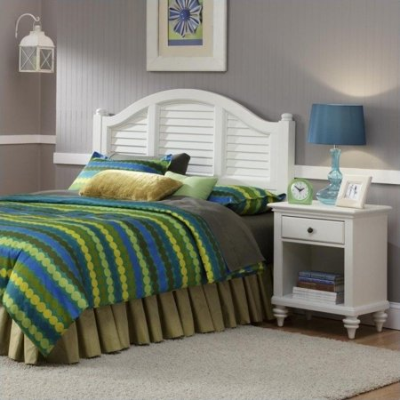 Bermuda headboard and night stand brushed white finish - Hawthorne bedroom furniture collection ...